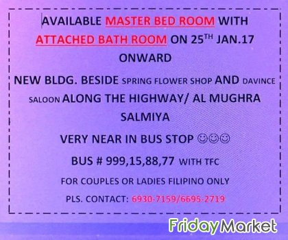 AVAILABLE MASTER BED ROOM WITH ATTACHED BATH ROOM ON 25TH JAN.17 ONWAR Salmiya Kuwait