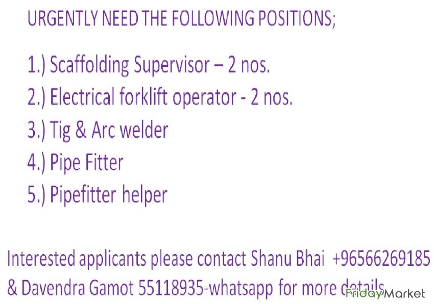 WANTED URGENTLY OF THE FOLLOWING POSITIONS